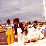 Margie Hibbert, Geoff Floyd & Sue Johnston on Pelorus Jack, March 1982.