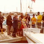 My late mother Valerie christening the first Pelorus Jack with my late father Harry dutifully right behind her. Chuck McPhail and David Johnston in this photo are FB friends today. David Lindsay far left, was our best man in 1998.