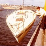 Rob Mundle launches our J24, Pelorus Jack immediately after the Melbourne boat show of 1979