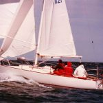 Another shot of Frank Hammond & Harry Russell's Double Exposure on the burst in plenty of breeze. DE is now based at RMYS as part of their sail training fleet.