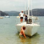 Rawhiti 11 with Douglas Brockhoff (sadly now RIP) cleaning the bottom in Pittwater during an early NSW Champs. A wonderful skipper and extraordinarily generous man - I sailed many races on Ra 11 with Douglas and often with Coach, Mike Fletcher. Doug virtually gave me the boat after we sold our own J24. Mind you, I had to tow it to Melbourne from his home on The Grove in Mosman. Possibly the only time anyone ever attempted to tow a J24 up Awaba Street - Dick Sargent rebuilt the gearbox - fortunatelyDoug was well connected.