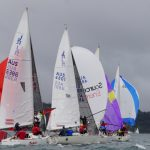 Close competition on the top mark hoists | Doyle MacDiarmid Sails J24 NSW States 2017