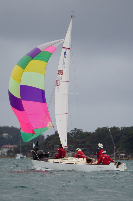 Bright kite on a dull day! | Doyle MacDiarmid Sails J24 NSW States 2017